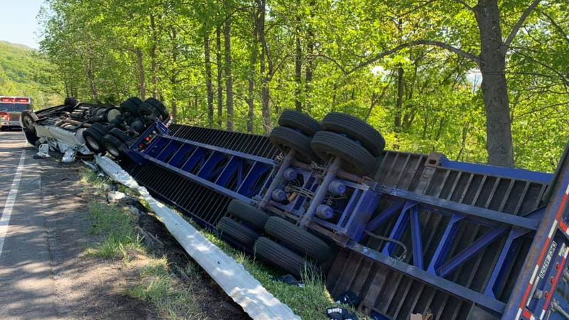 Officials say no injuries were reported in Tuesday morning's tractor trailer crash along U.S....