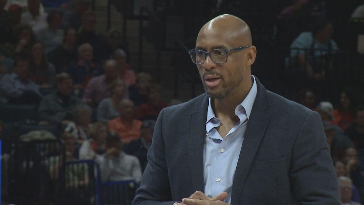 JMU Men's Basketball head coach Louis Rowe
