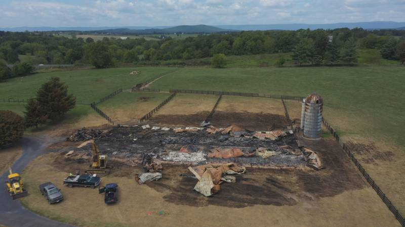 View of what's left from where the barn once sat.