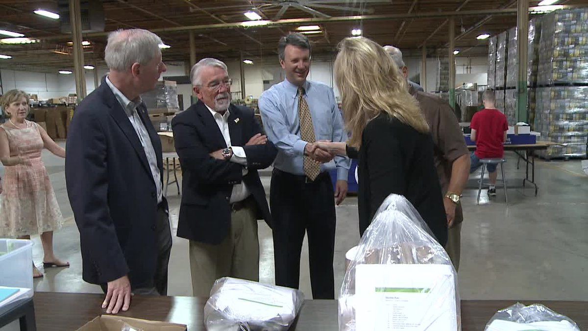 Delegates Steve Landes, Rob Bell, and Ben Cline (left to right) tour Vector Industries in July...