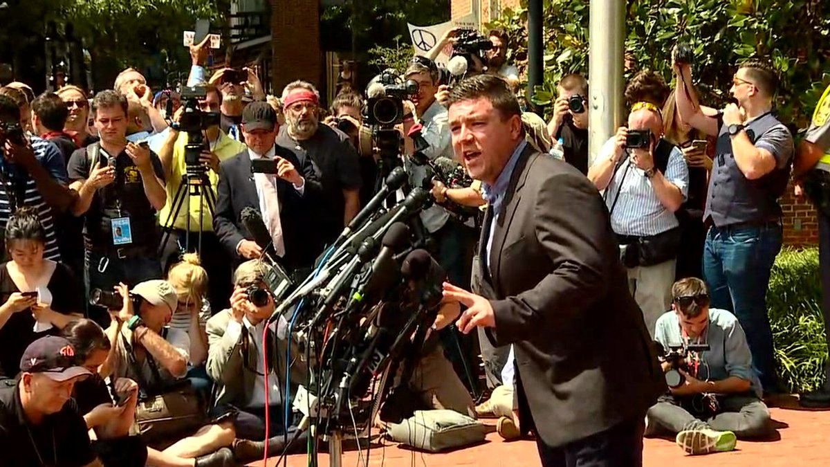 Image of Jason Kessler's press conference the day after the deadly 'Unite the Right' rally  ...