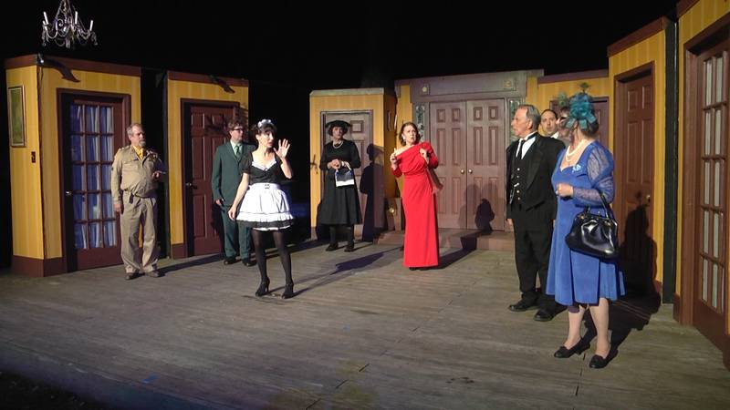 The cast of Clue at Oak Grove Theater in Verona, VA.