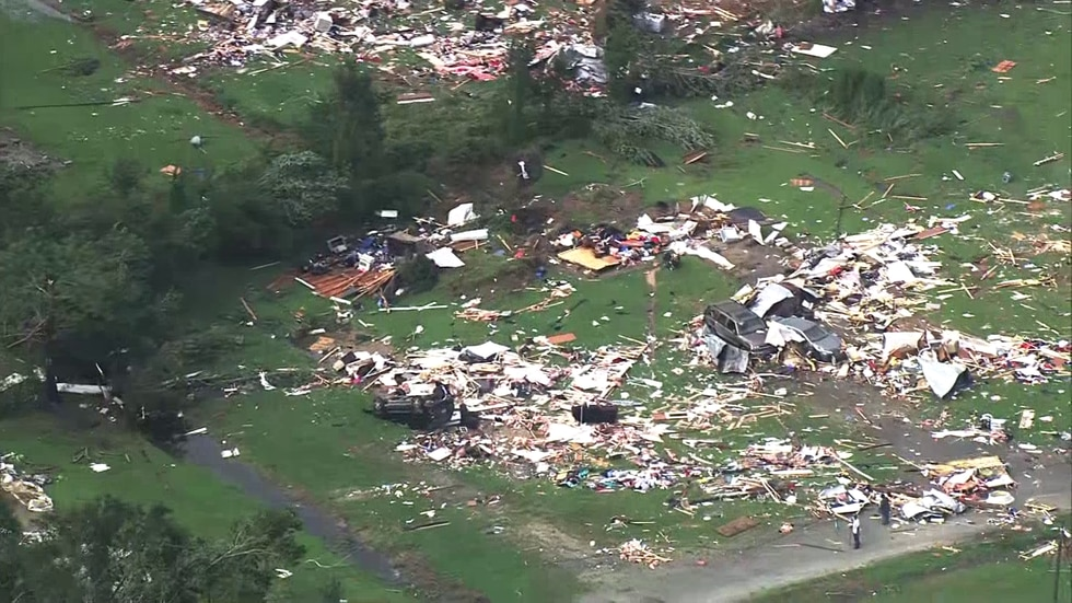 At least one person is dead after a tornado destroyed a Bertie County mobile home park.