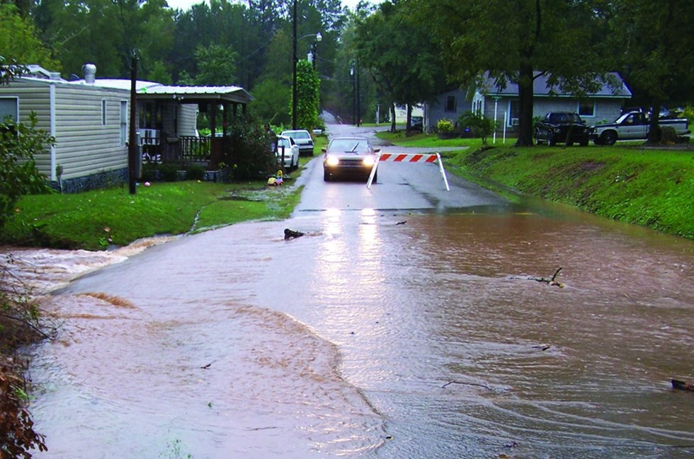 A large amount of water covering a roadway