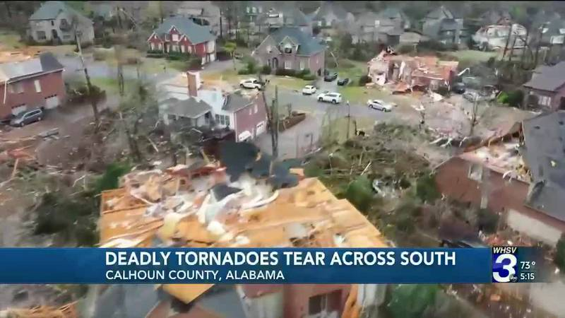 At least 6 people have died for tornadoes that tore across the South Thursday