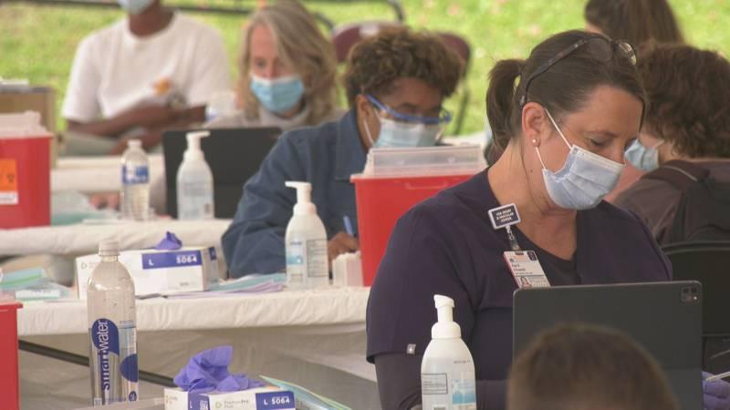 A team of vaccinators at UVA Health's pop-up COVID-19 vaccine clinic.