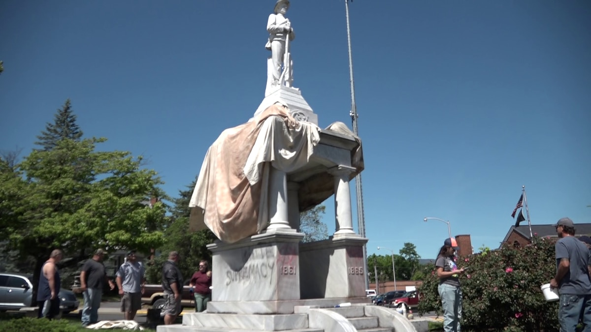 Two statues in Luray were vandalized with spray paint early Monday morning.