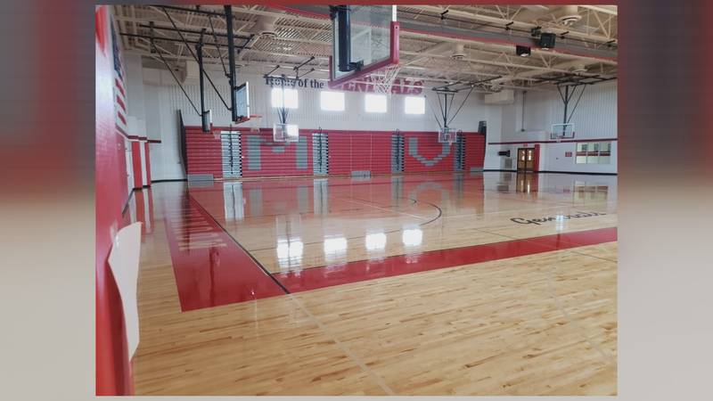 Changes have been made to the lettering on the bleachers and on the basketball court.