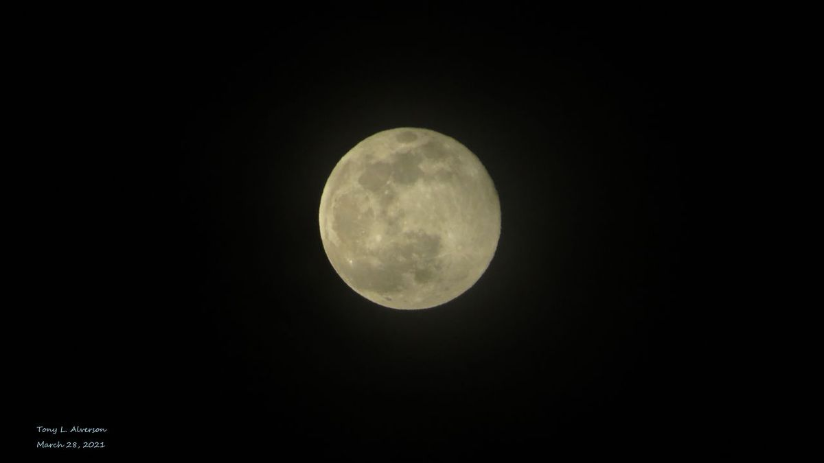 Clouds cleared out enough to get a shot of the Worm Moon. The first of four consecutive...