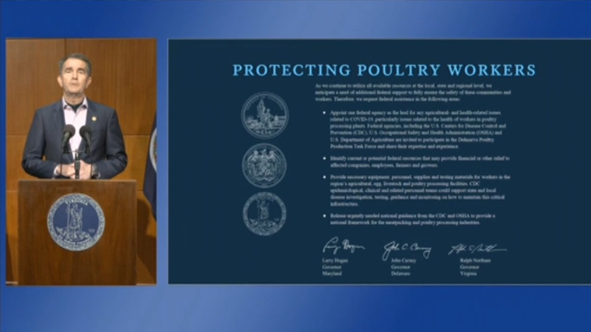 Gov. Ralph Northam alongside a slide during his April 27 press briefing on Virginia's response...