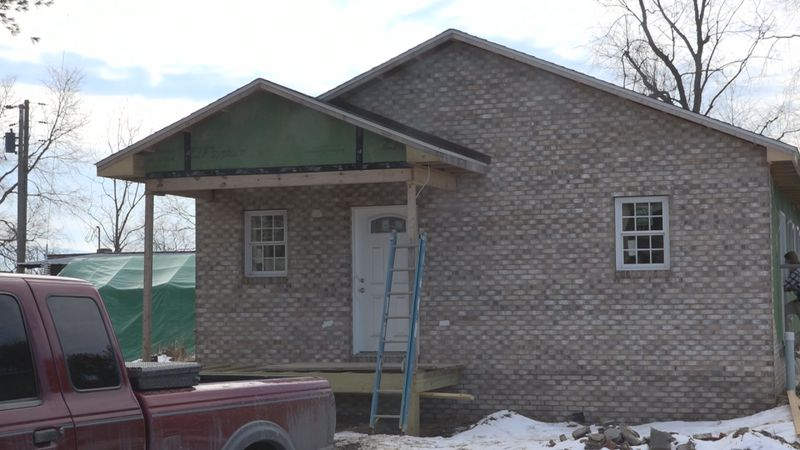 The two homes in Mount Jackson are close to being finished. Students are still working on...