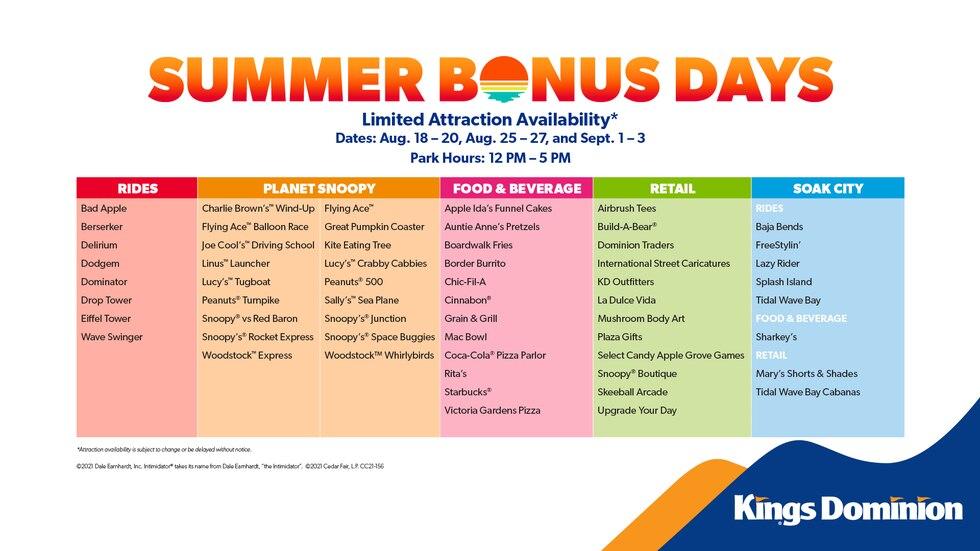 Kings Dominion, Summer Bonus Days