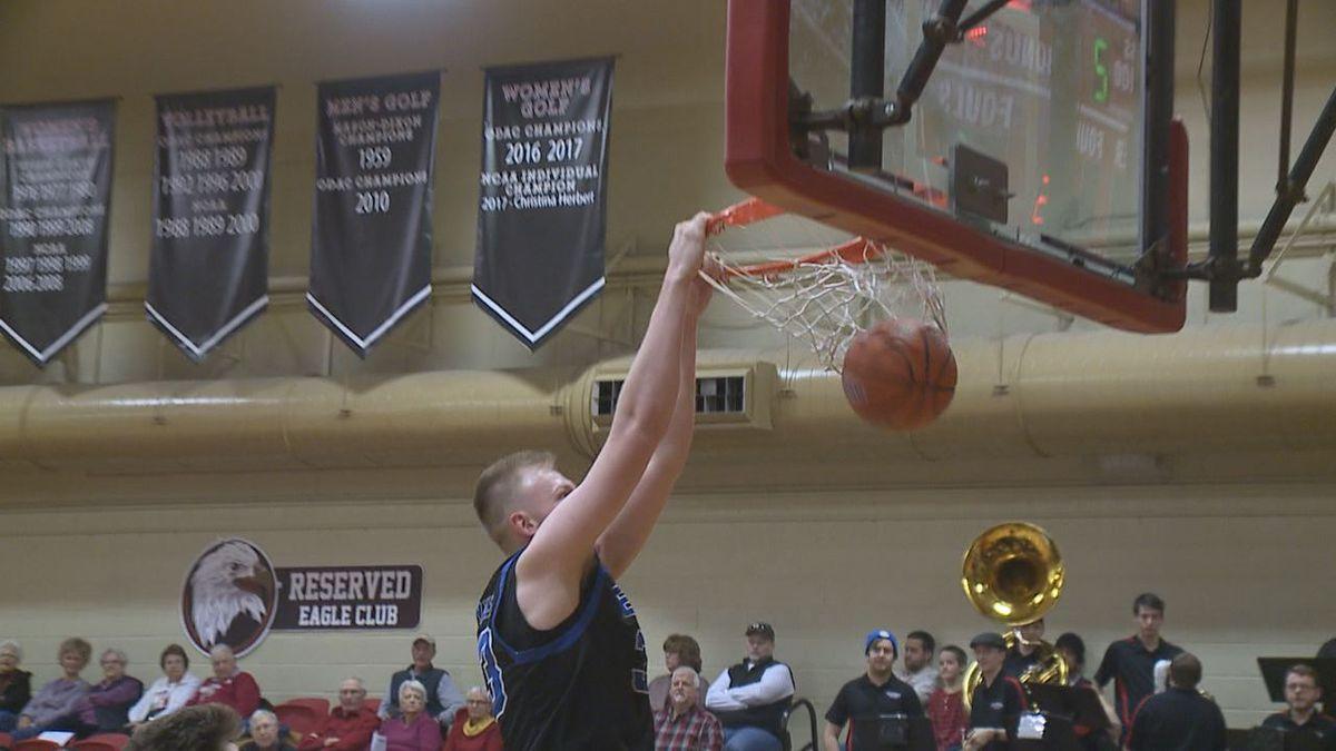 The Eastern Mennonite University men's basketball team defeated rival Bridgewater College, 80-67, Wednesday night.