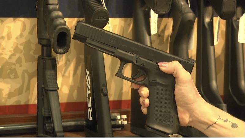 A handgun at Tobey's Pawn Shop in Albemarle County. Adults under 21 may be able to purchase one.
