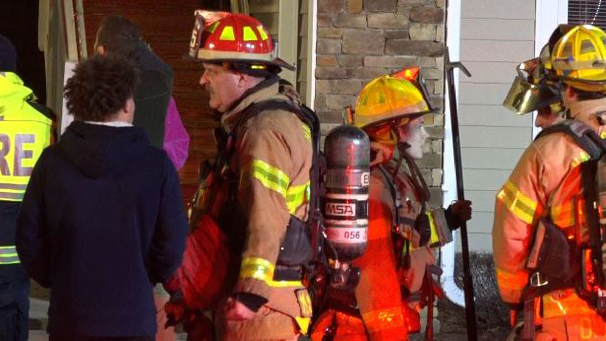 Crews had residents step out of their apartments from each floor of the building.