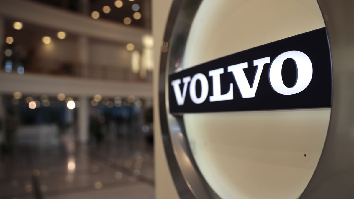 The Volvo logo in the lobby of the Volvo corporate headquarters, prior to a media conference on...