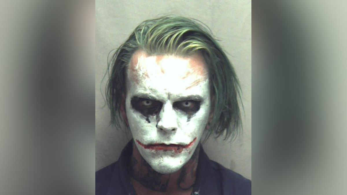 Jeremy Putman, 31, arrested in Winchester on a felony charge of wearing a mask in public while dressed as the Joker