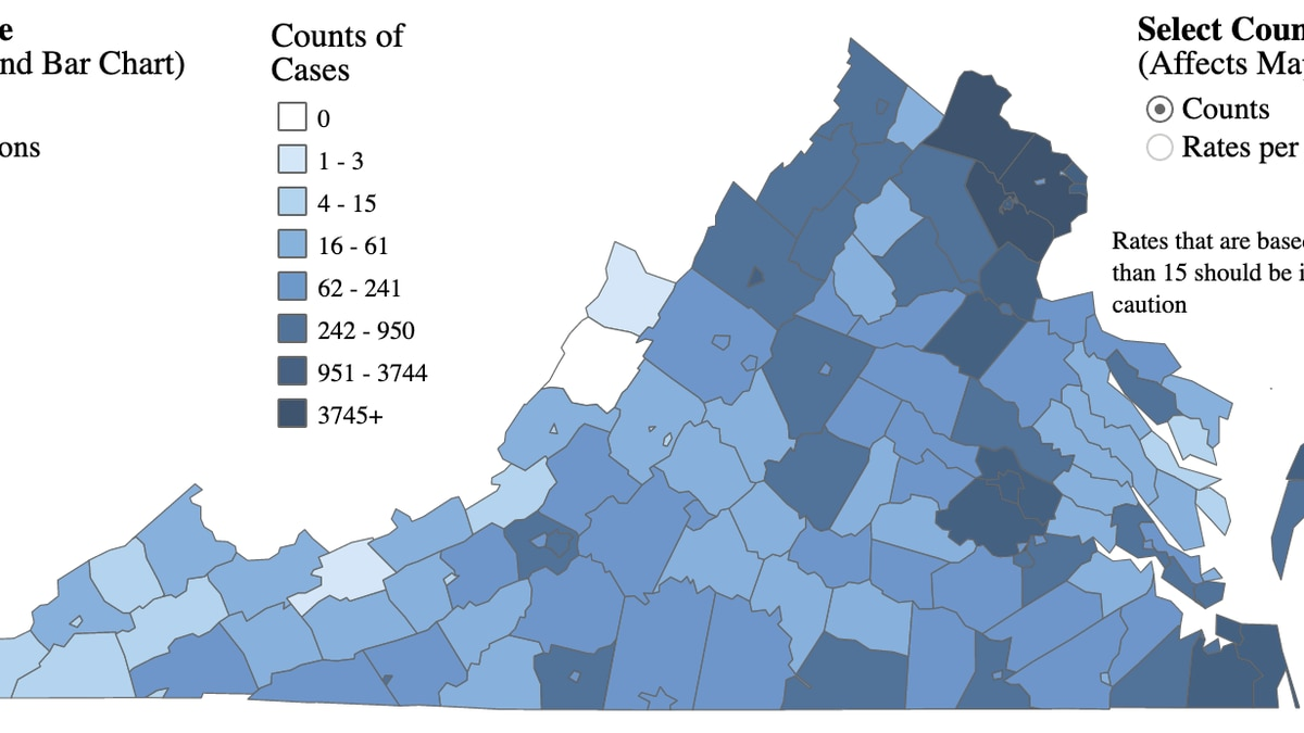 A map of COVID-19 cases in Virginia as of July 4, 2020.