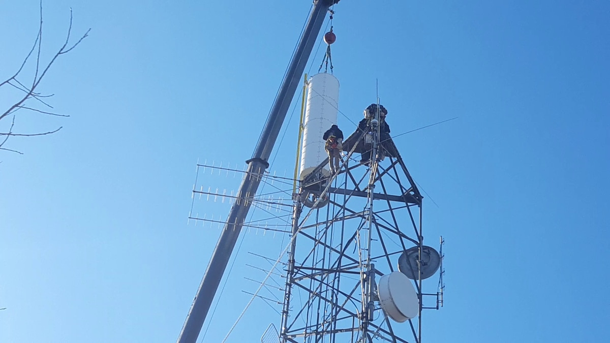 Photo of antenna installation on WHSV's WSVF transmitter on Wednesday, March 4