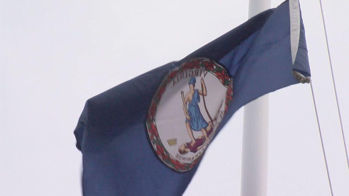 Virginia flag flying at James Madison University in April 2018