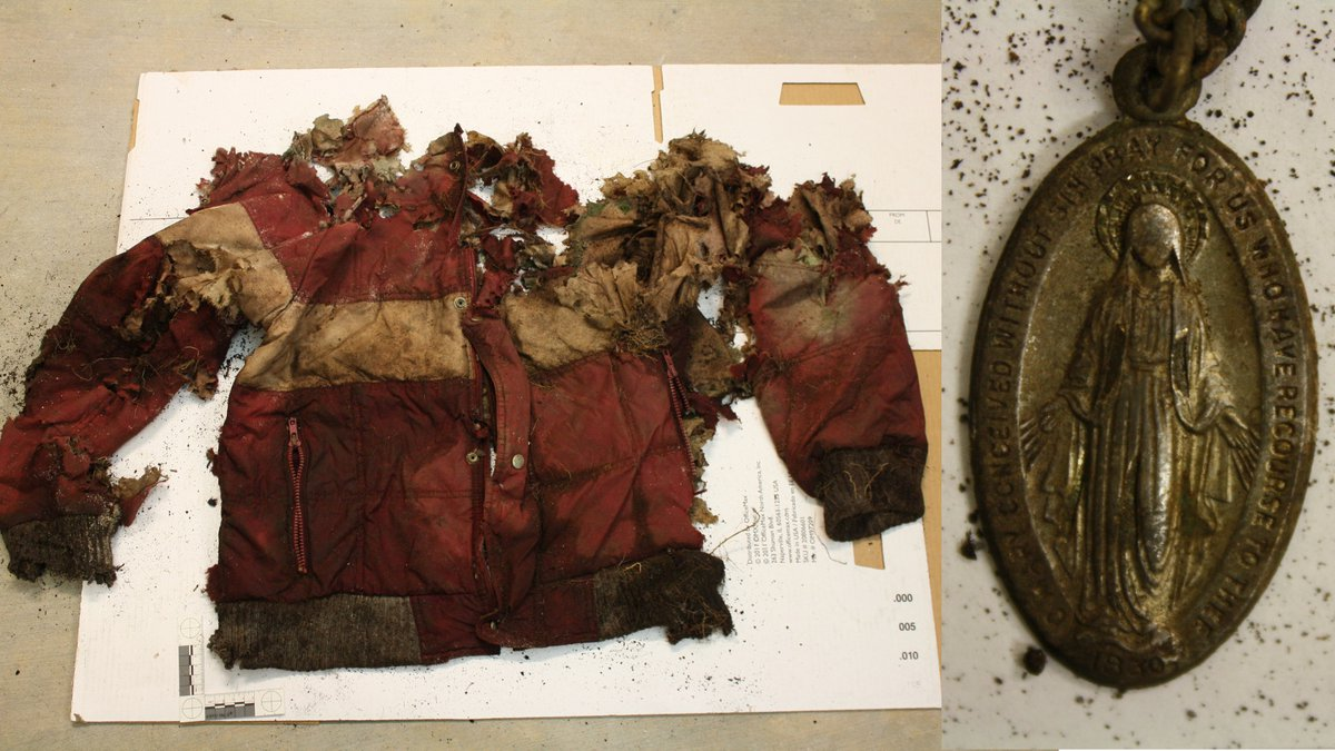 Photos of articles of clothing found with human remains in West Virginia provided by West...