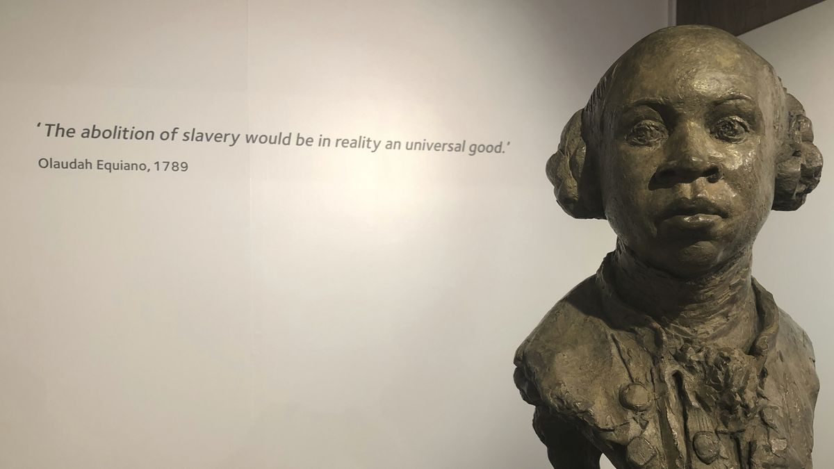 In this Nov. 24, 2019 photo, a sculpture of former slave and later abolitionist, writer Olaudah...
