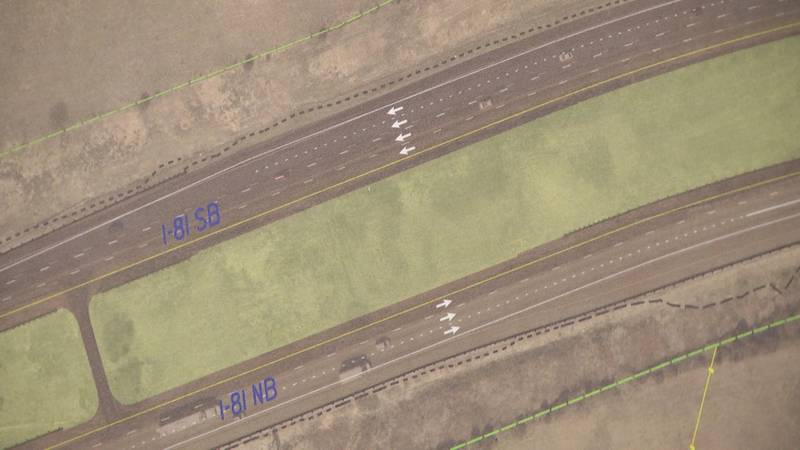 A picture of what three lanes for traffic in each direction would look like on I-81 outside...