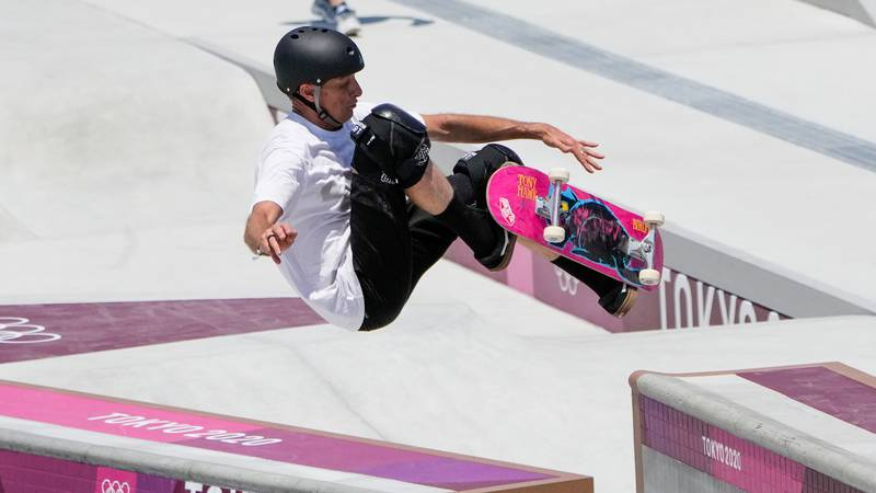 Tony Hawk, who is not a competitor, tries out the skate park at the 2020 Summer Olympics,...