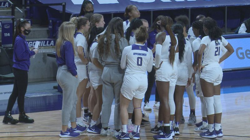 The James Madison women's basketball team falls on the road to the College of Charleston.