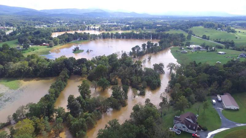 River flooding from September 2018 after heavy rain from Hurricane Florence fell on an already...