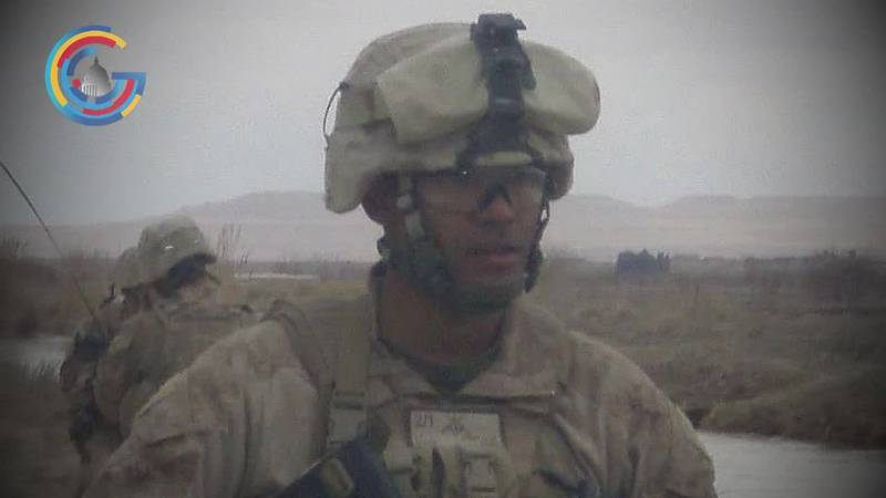 Retired Capt. Kyle Bibby (USMC) reacts to the Afghanistan war's end.