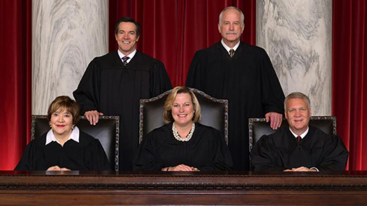 The current West Virginia Supreme Court of Appeals is made up of (from left to right) Justice Margaret Workman, Justice Evan Jenkins, Chief Justice Elizabeth Walker, Justice John Hutchison, and Justice Tim Armstead. (Source: WVSUPCO)