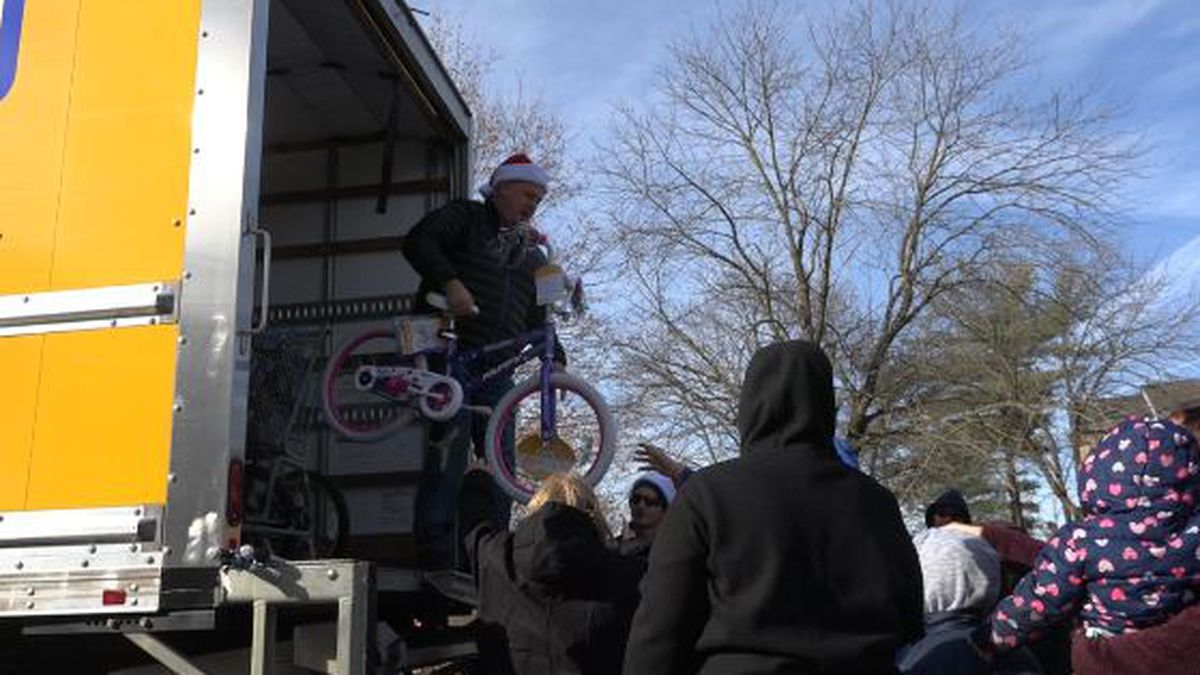 Armstrong said he purchased more than 100 bikes to give out to kids on Friday night.