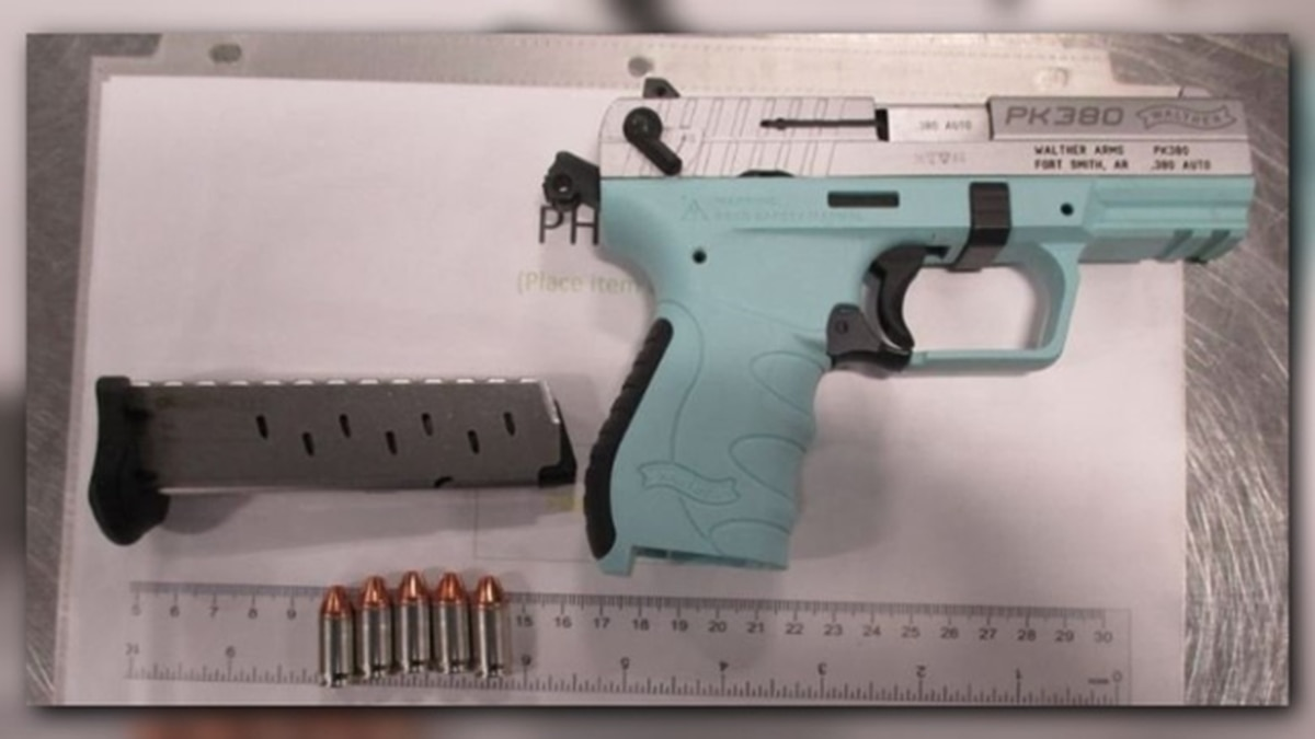 This 9 mm handgun was detected by TSA officers at the Newport News/Williamsburg International Airport checkpoint Wednesday, August 9. It was loaded with five bullets.   (Photo: TSA)