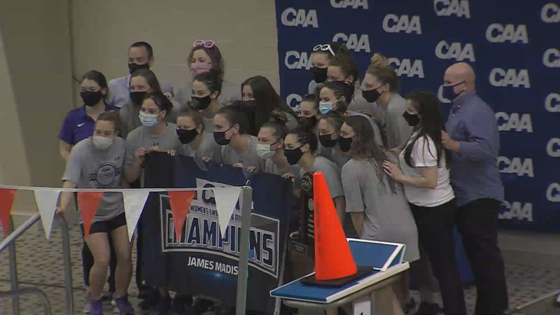 The James Madison women's swimming & diving team claimed its fourth straight CAA title...