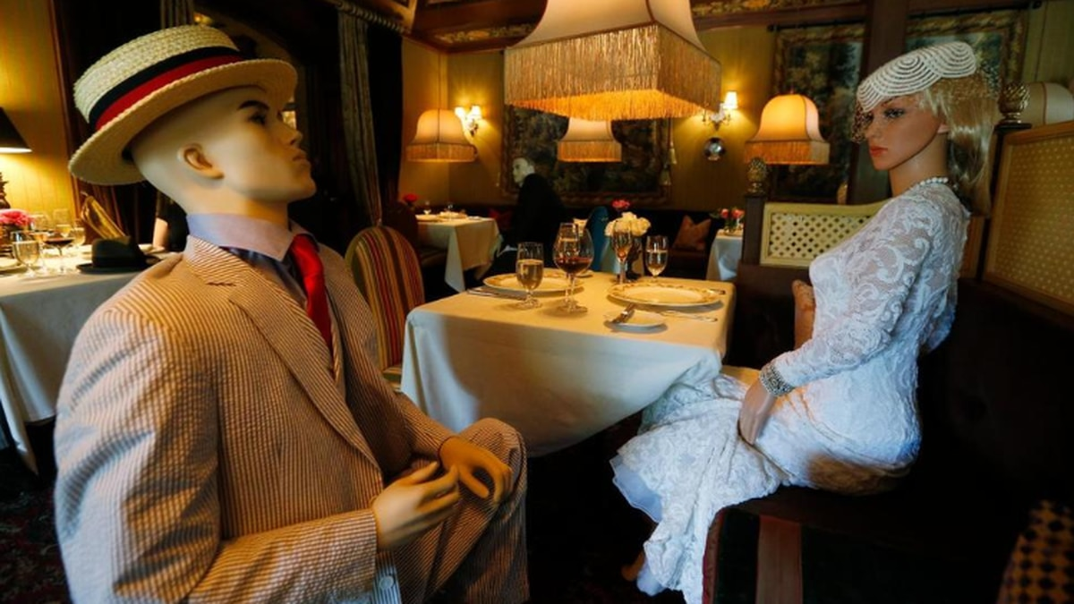 Mannequins provide social distancing at the Inn at Little Washington as they prepare to reopen...