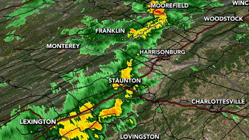 A line of heavy rain is working through the area.