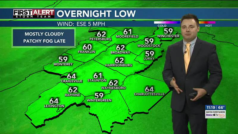 Mostly cloudy Monday with highs in the upper 70s to low 80s