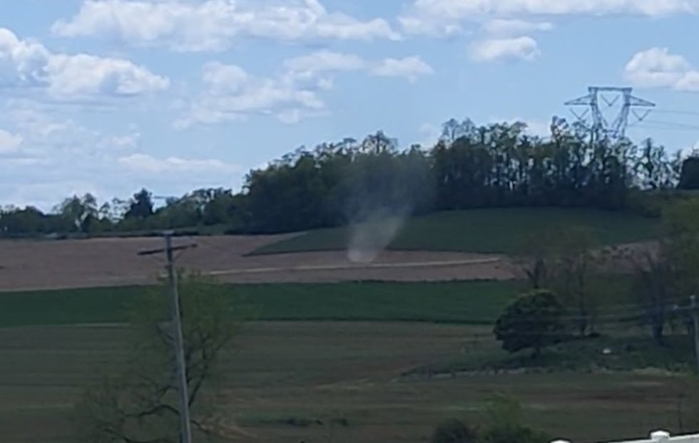 This dust devil formed Thursday in the Hinton area.