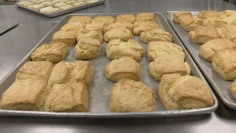 Volunteers bake over 10,000 shortcakes on Friday for the 41st annual Strawberry Festival in...