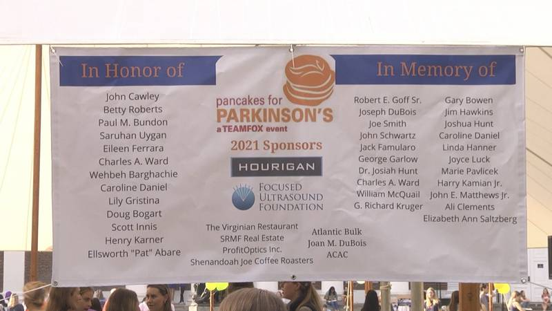 Banner at the 2021 Pancakes for Parkinson's at UVA
