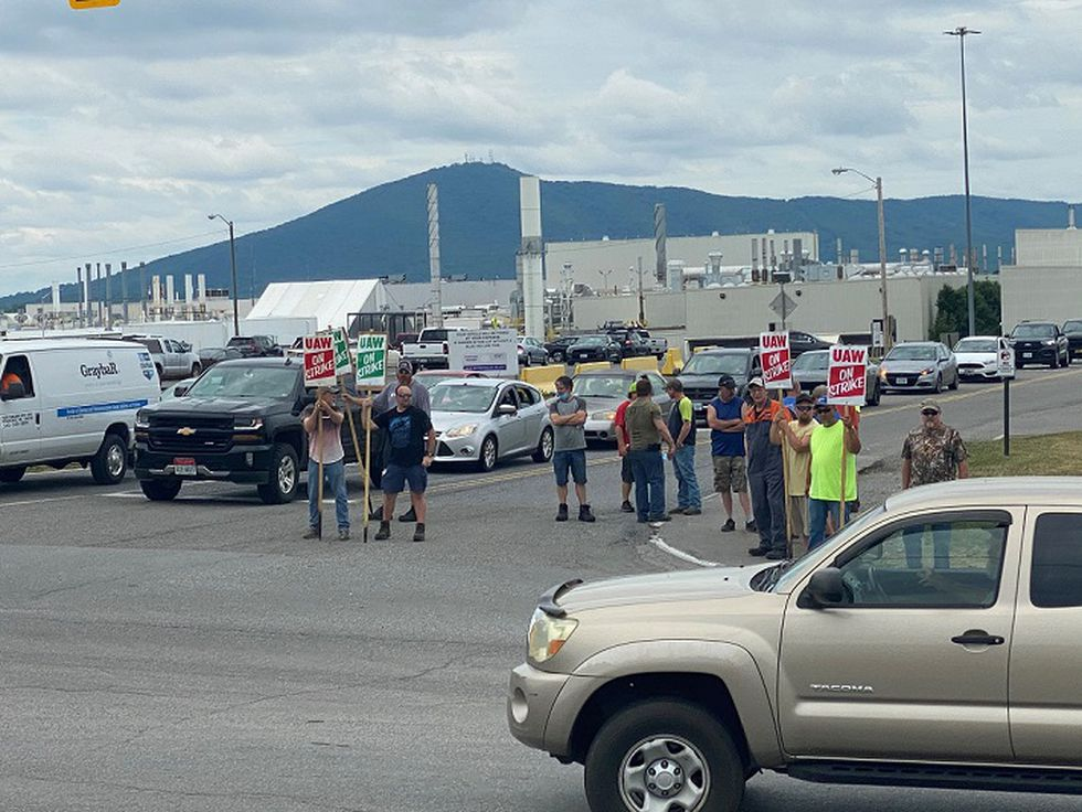 Members of United Auto Workers strike in Dublin, VA after rejecting the latest Volvo employment...