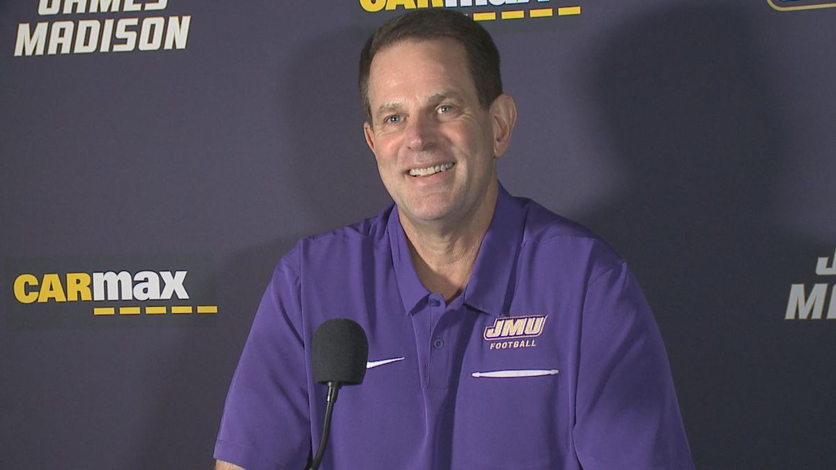 James Madison football head coach Curt Cignetti met with the media Monday morning ahead of the...