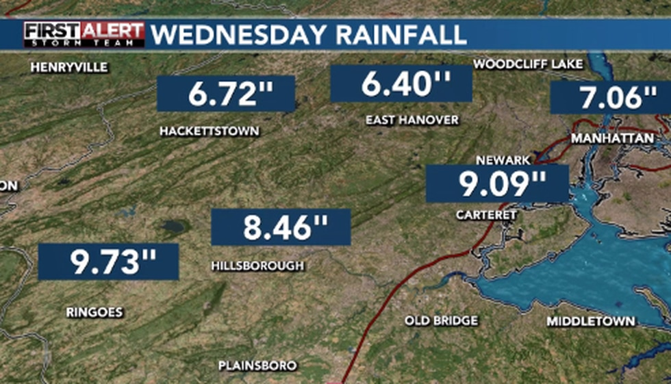 6-10 inches of rain fell across parts of Pennsylvania, New Jersey, New York, and Connecticut...