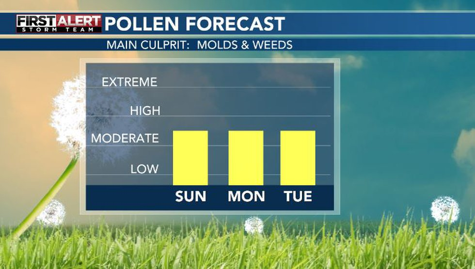 Pollen levels will be moderate for ragweed over the next few days.