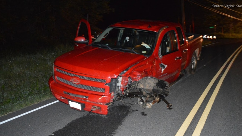 Photos show front-end damage to a Chevrolet Silverado after a fatal motorcycle crash in...