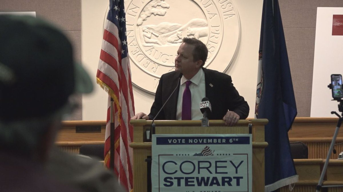 Corey Stewart holds a campaign rally in Augusta County during his run for U.S. Senate against...