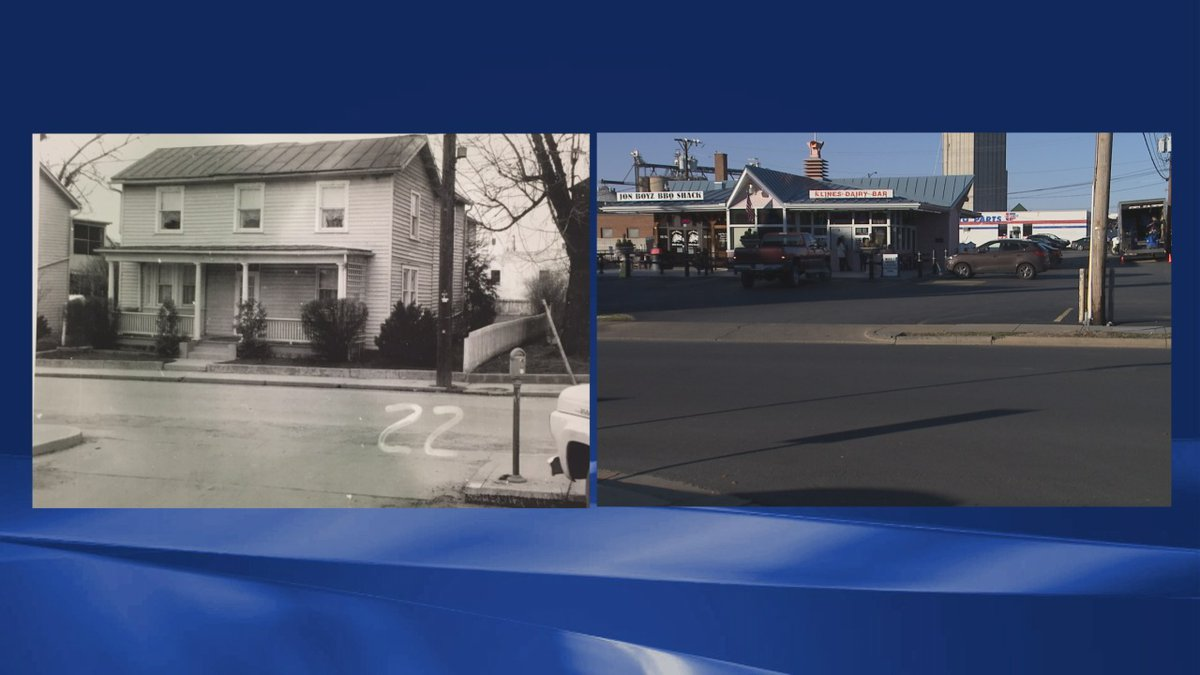 This photo shows a before and after of Jennifer Vickers' grandparents home which is now Kline's...