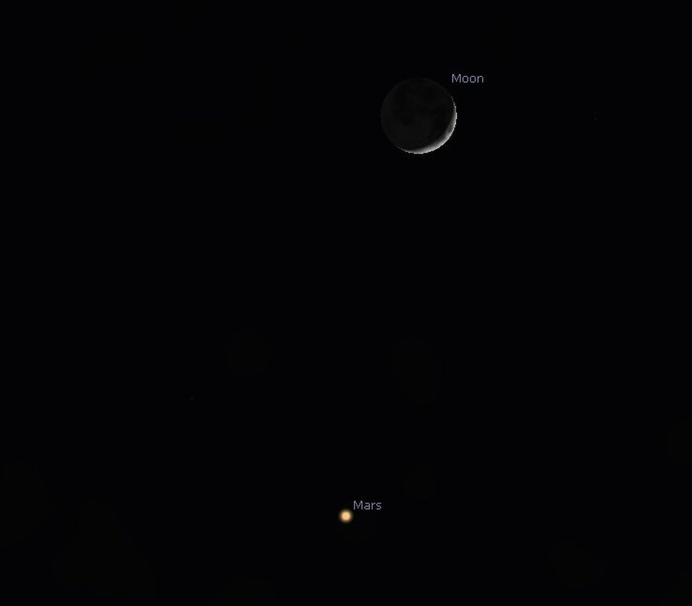 The very young crescent moon will be visible with Mars in a single pair of binoculars after...