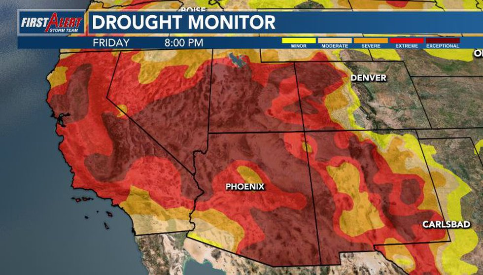 Much of the southwest is under an exceptional drought
